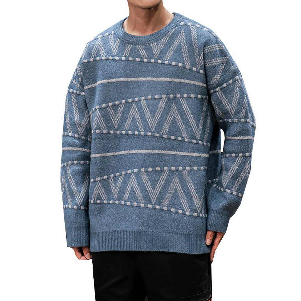 Winter Sweater Men Fashion Retro Casual Knit Pullover Sweter Clothes Wild Loose Long Sleeve O-neck Warm Sweater Man M-5XL
