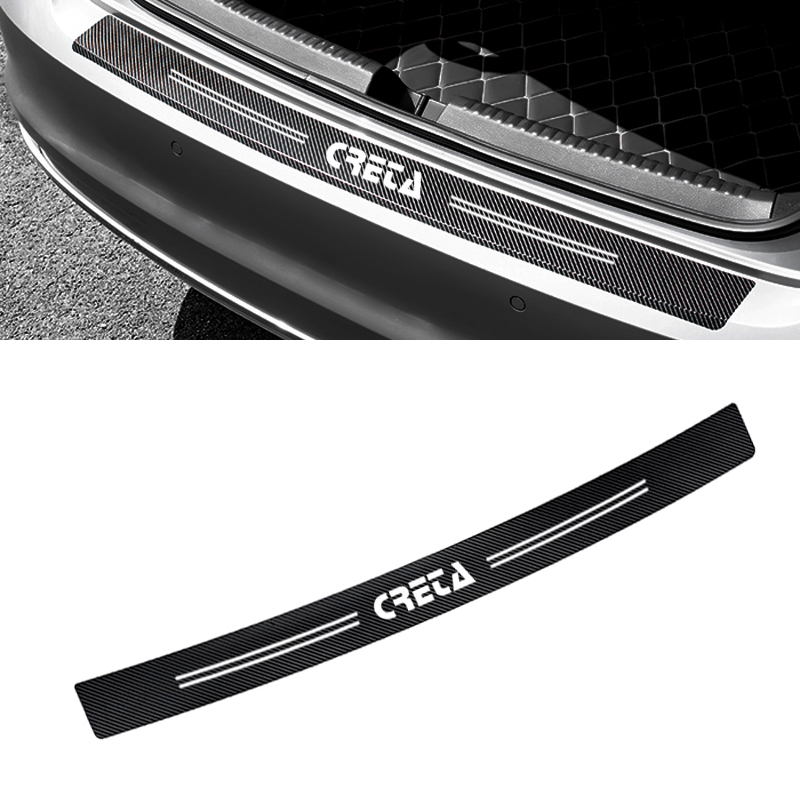Auto Rear Bumper Trunk Carbon Fiber Protection Sticker Decal Car Styling For Hyundai Creta Ix25 2018 Accessories