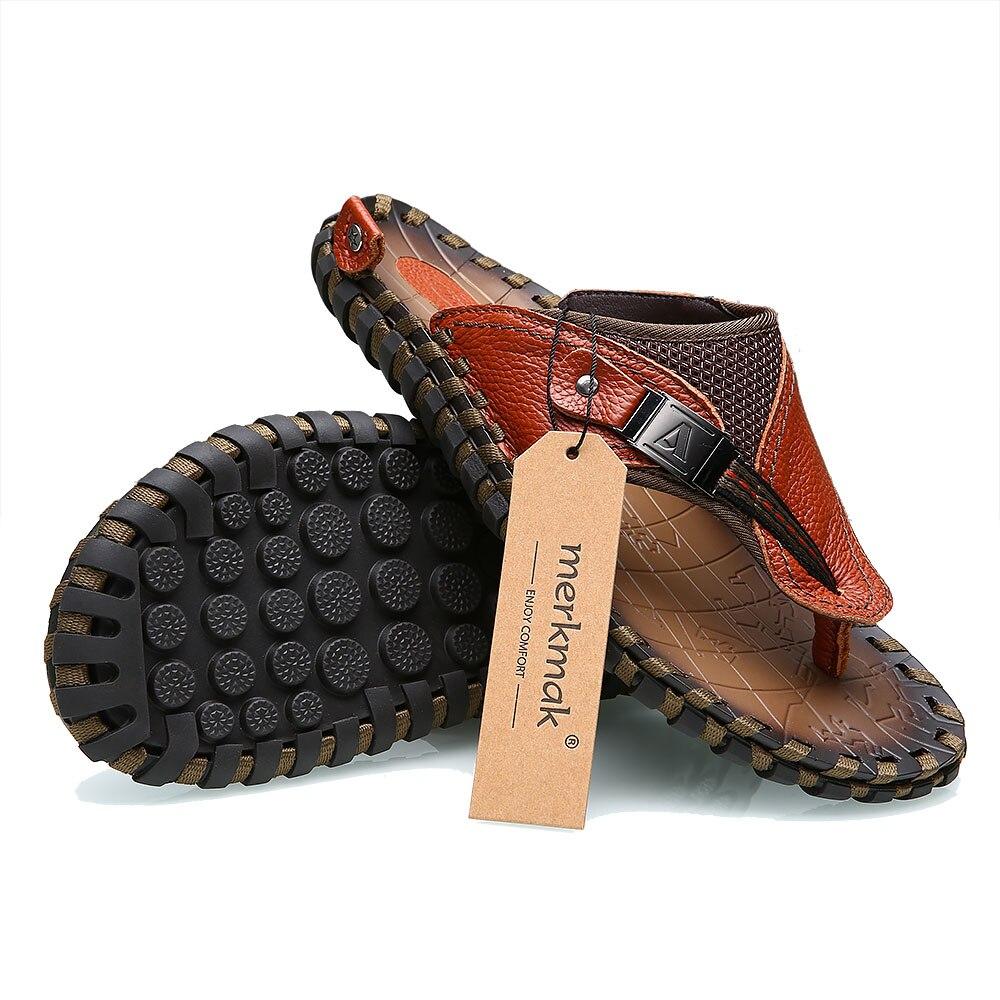 Merk 2018 Nieuwe Mannen Slippers Lederen Slippers Zomer Mode Strand Sandalen Schoenen Voor Mannen Big Size 45 - 6