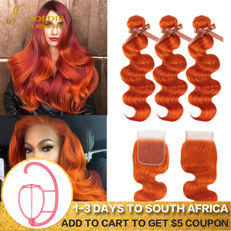 Joedir Hair Brazilian Body Wave Hair Bundles With Closure Human Hair Weave Bundles With Closure Orange Red Bundles With Closure