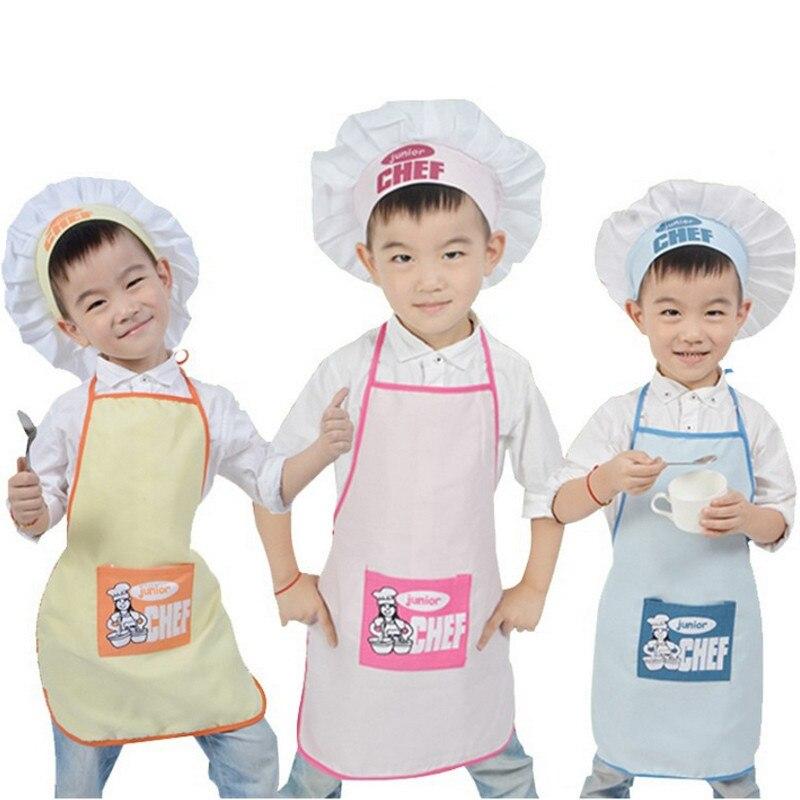 2 Pcs/Set Children Junior Apron Chef Hat Pocket Set Kids Kitchen Cooking Drink Food Tool Family Kitchen Accessories