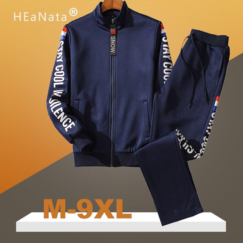 M-9XL Large Size Tracksuit Set Men Autumn Spring Sportwear Men Zipper Coat Pants 2 Piece Sets Sweat Suit Sporting Fitness Sets