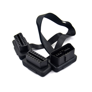 Image 5 - Flat Thin As Noodle 2in1 16Pin OBD 2 OBD2 Cable Connector Diagnostic Tool ELM327 Adapter Male to Female Extension Connector