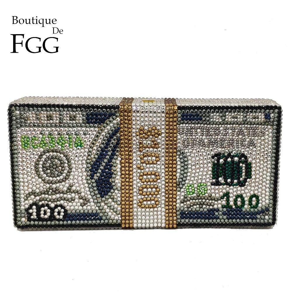 Boutique De FGG Design Unique $100 Dollars argent sac femmes cristal boîte embrayage soirée sacs Cocktail dîner sacs à main et sacs à main