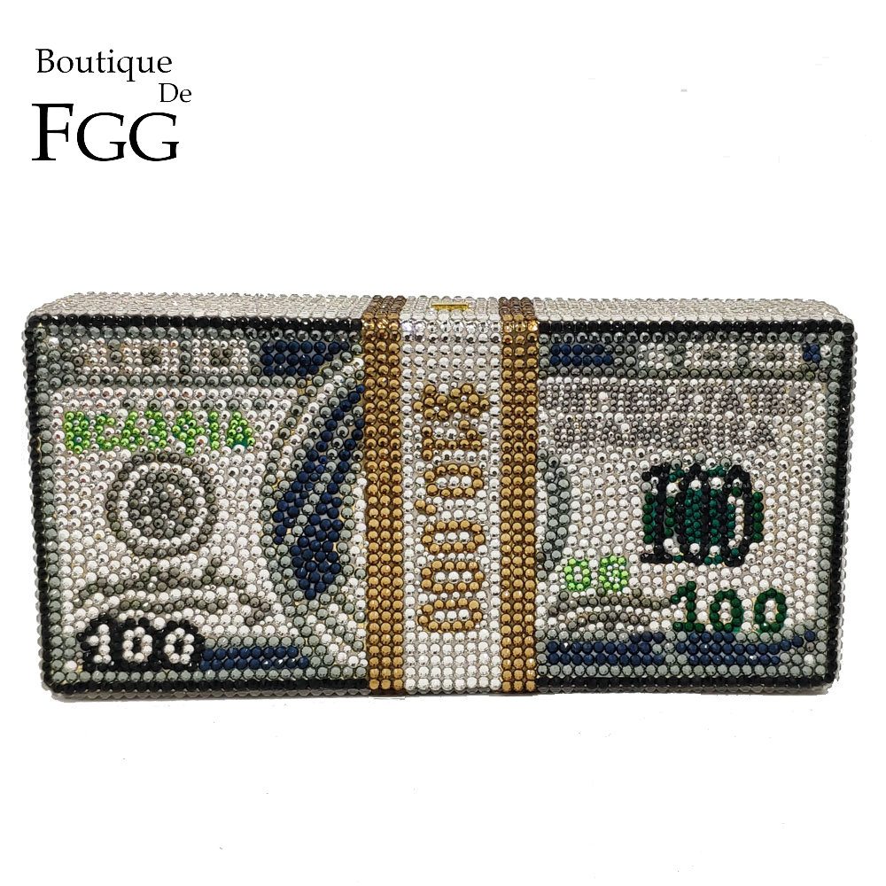 Boutique De FGG Hand-Made STACK OF CASH Dollar Women Money Bag Crystal Clutch Evening Bags Cocktail Dinner Purses and Handbags
