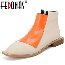 FEDONAS คุณภาพผสมสีของแท้หนังผู้หญิงรองเท้ารอบ Toe เชลซีรองเท้ารองเท้าผู้หญิงรองเท้าสั้น