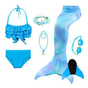 Image 3 - Mermaid Bathing Suit Tail Dress Costume Girl Children Swimming Monofin with Mermaid Tails Girl Sexy Swimsuit Christmas Cosplay