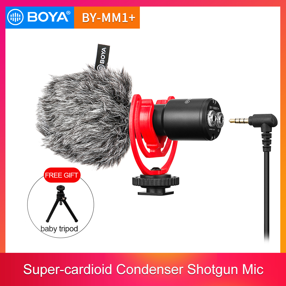 BOYA BY-MM1+ Condenser Video Recording Microphone with clip Youtube Vlogging Mic for Smartphone Tablets DSLR Camera Camcorder PC