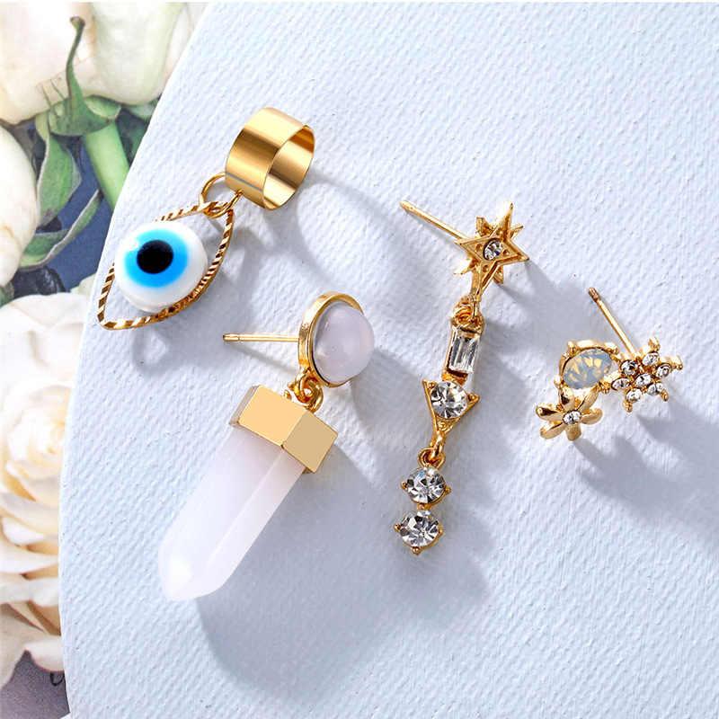 Bohême yeux bleus pendentif petite oreille os boucles d'oreilles pour les femmes mode cristal pierre fleur étoile boucles d'oreilles fête Punk Bijoux Bijoux