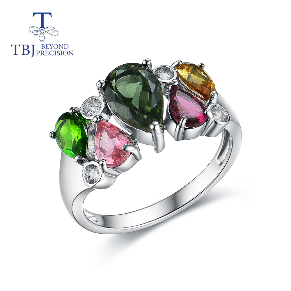 Tourmaline rings good multi-color natural gemstone originality design 925 sterling silver fine jewelry for women daily wear