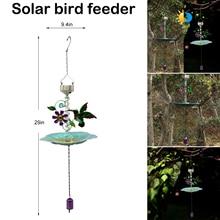 Feeder Outside-Decoration Garden Solar-Powered Outdoor for Yard Birds Bath-Hanging Beautiful