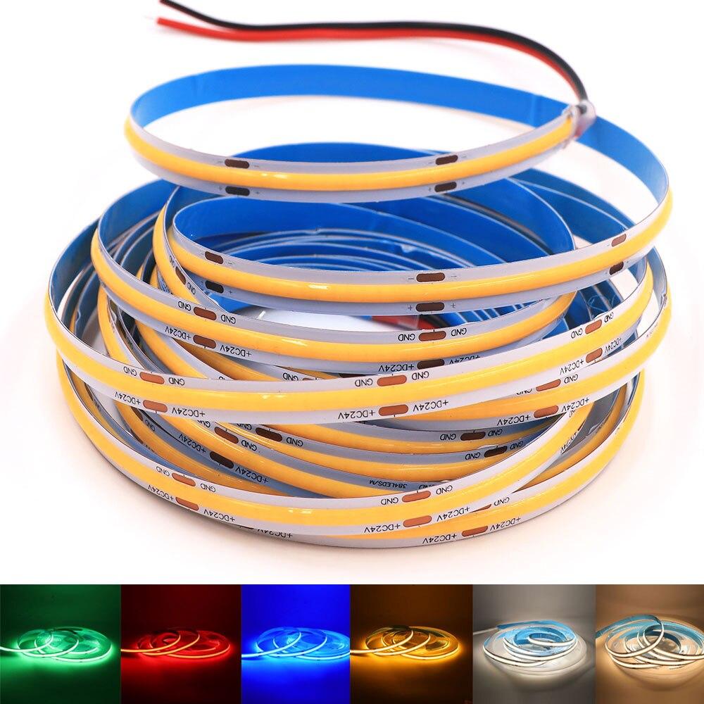 Высокая плотность Светодиодные ленты 12V 24V Высокое Яркость гибкие светодиодные ленты 384 светодиодов/m COB светодиодный светильник полосы зате...