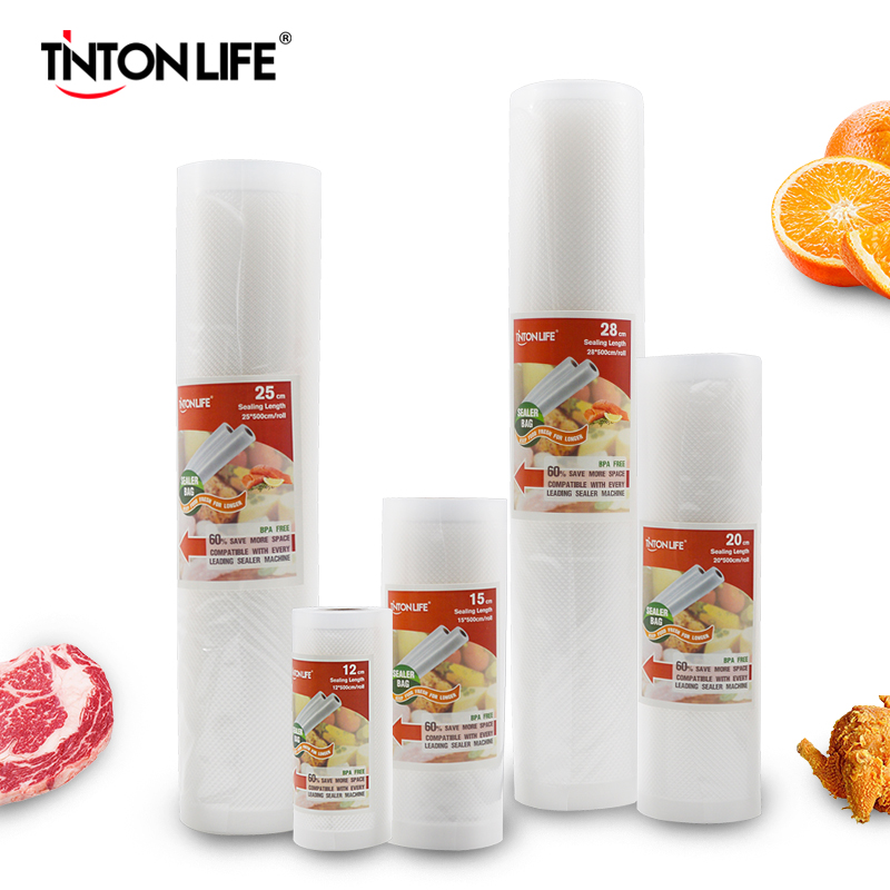 TINTON LIFE Food vacuum sealer Storage saver bags Vacuum Plastic rolls 5 size Bags For Kitchen Vacuum Sealer to keep food fresh|Vacuum Food Sealers|   - AliExpress