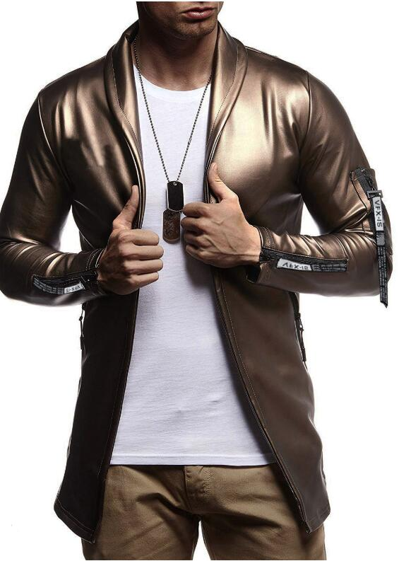 Image 3 - Night Club Leather Jacket Men New Fashion Slim Fit Motorcycle Leather Jacket Golden/Silver Blazer Jacket Male Leather Coat-in Faux Leather Coats from Men's Clothing