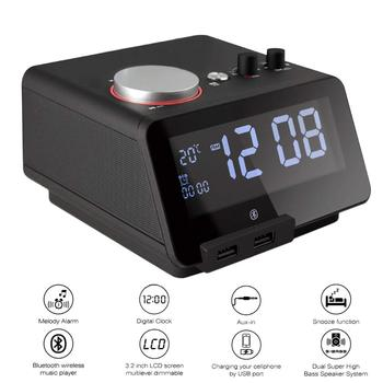 Homtime speakers FM Radio Alarm Clock Bluetooth Speaker USB charger support TF  USB AUX mode Bombox with Temperature reading