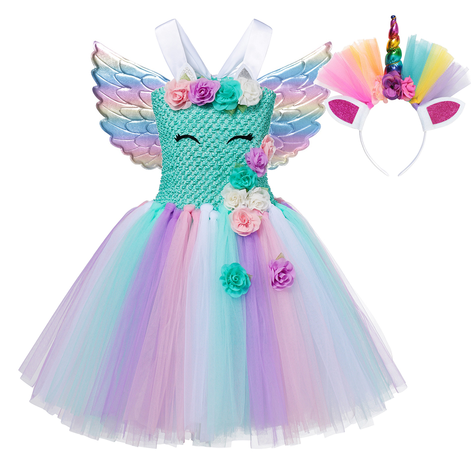 MUABABY Girls Unicorn Tutu Dress Straps Floral Pageant Party Gown Children Unicornio Halloween Birthday Princess Costume Clothes