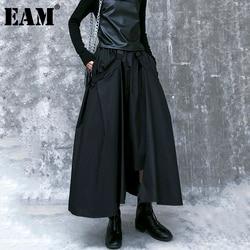 [EAM] High Elastic Waist Black  Buckle Split Joint IrregularHalf-body Skirt Women Fashion Tide New Spring Autumn 2021 1DA108