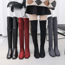 Over The Knee Boots Women 2019 New Winter Fall Slip On Sexy Fashion Platform Ladies Brown Black