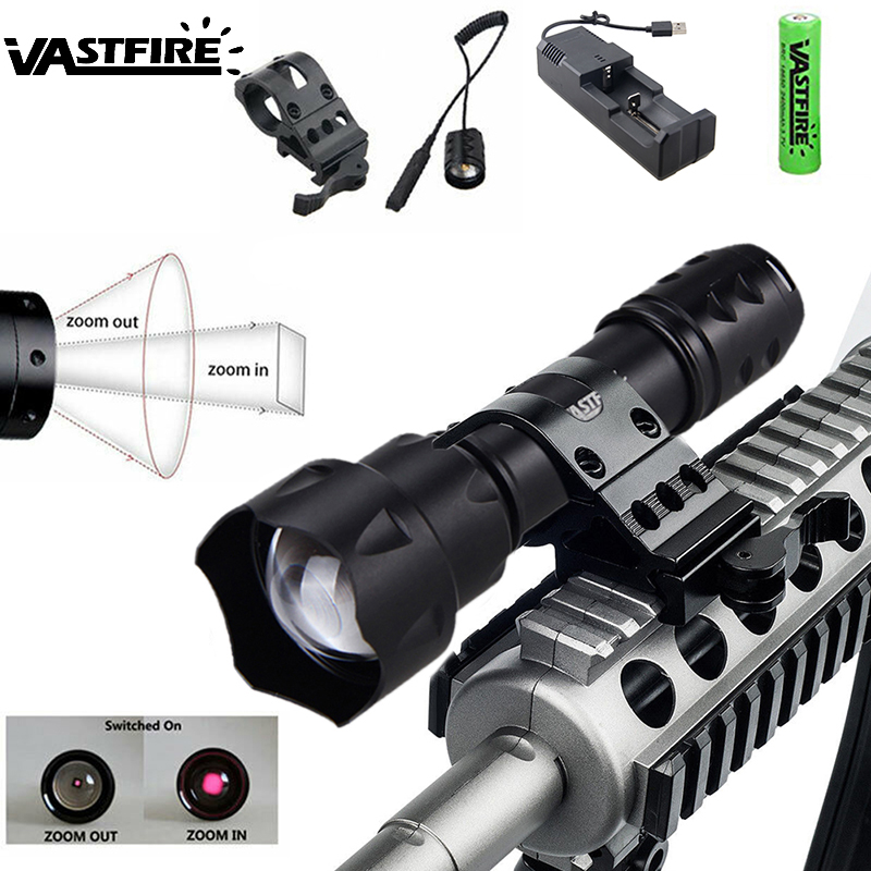 Zoomable IR Flashlight 8MM Lens Tactical Hunting Light 850 nm Infrared Radiation Night Vision Torch with Rifle Mount+Battery+CH