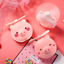 Portable Mini USB Fan Pig Beauty Mirror Pocket Fan Usb Rechargeable Mini Handheld Fan Led Light Hand Held Desk Air Cooler(China)