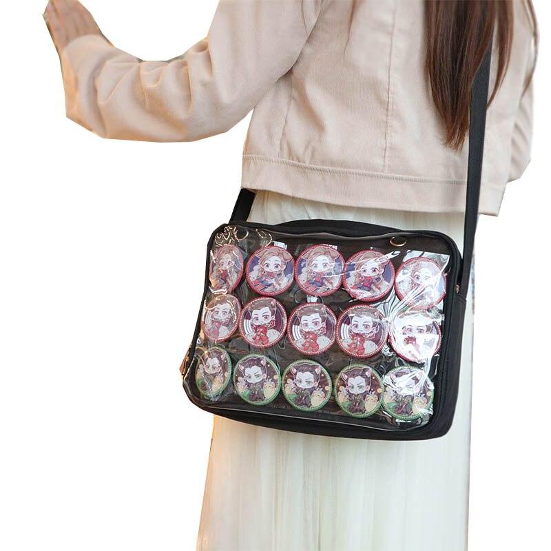 HISUELY Handbag Ita Bag Women One Shoulder Bags Japanese Transparent One Sided Canvas Soft Girls Lovely Little Fresh Clear Bag