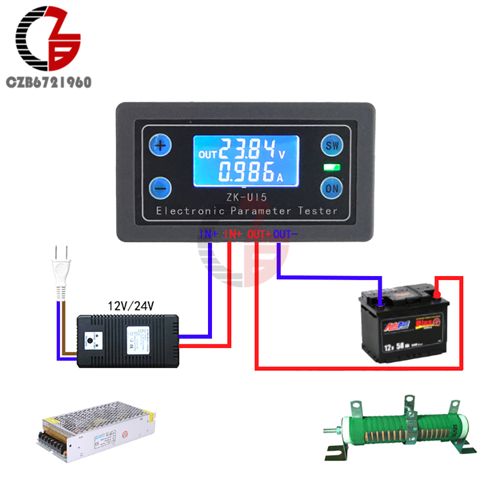 DC 5V-38V Digital Voltmeter Ammeter Battery Voltage Current Tester Electronic Load Monitor Power Capacity Meter Charge Discharge