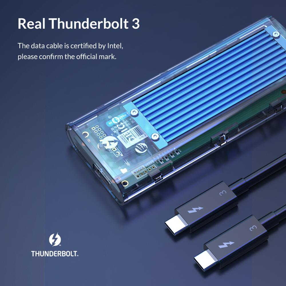 Image 2 - Корпус SSD ORICO Thunderbolt 3 40 Гбит/с M.2 NVME, прозрачный корпус 2 ТБ USB C SSD с кабелем 40 Гбит/с C C для Mac и WindowsКорпус жесткого диска    АлиЭкспресс