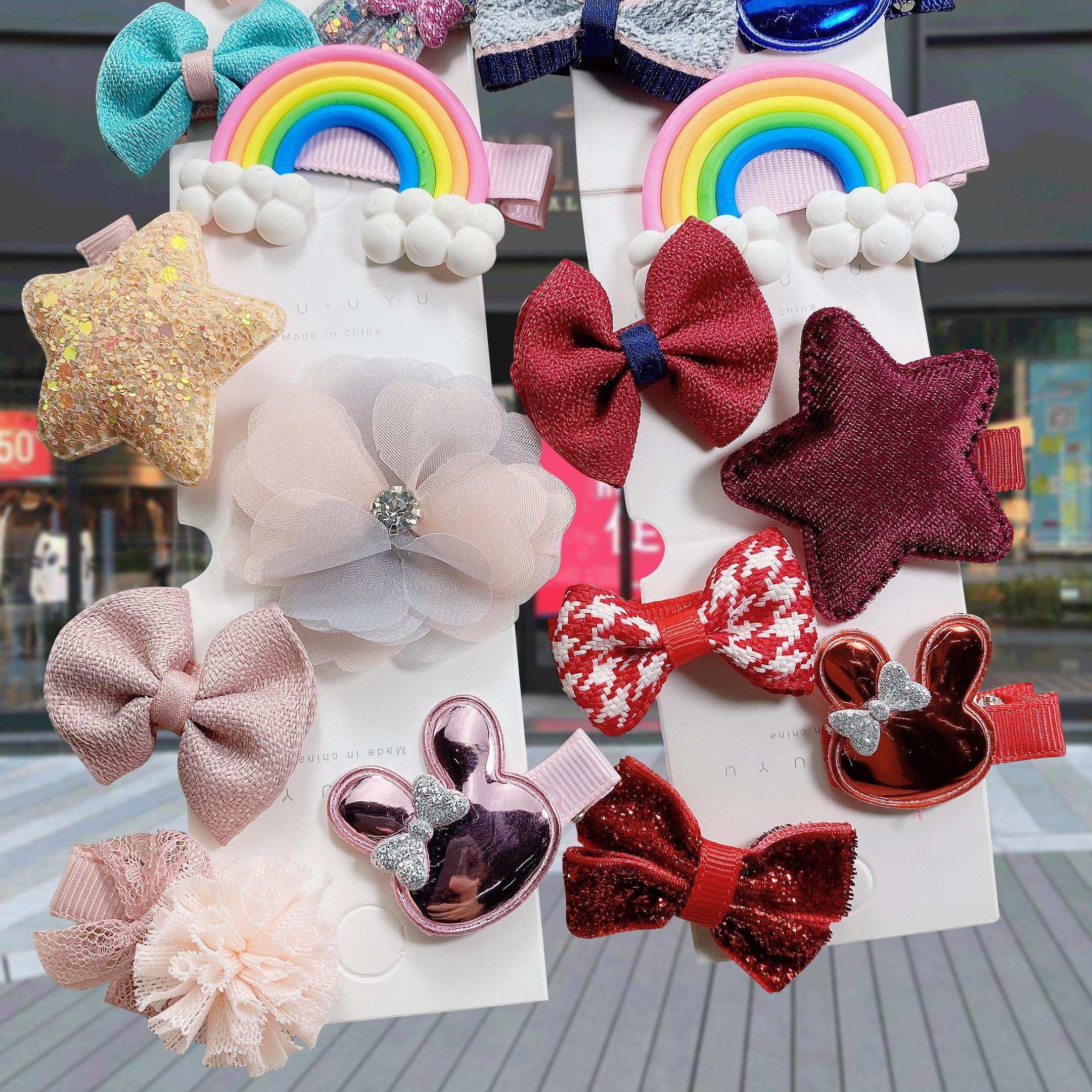 2020 New 6PCS/Set Girls Cute Cartoon Hair Clips Barrettes Kids Hairpins Bow Flower Headwear Girls Fashion Hair Accessories