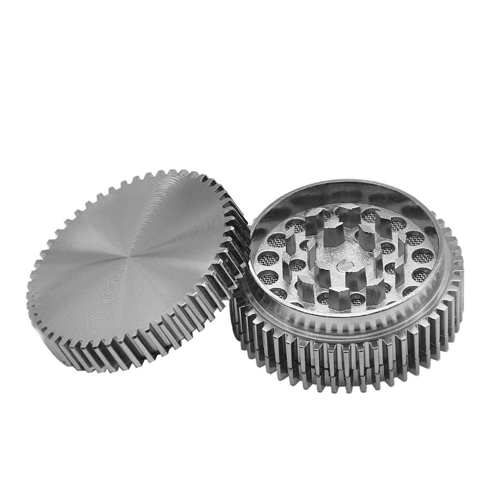 New Gear Style Zinc Alloy Smoking Grinder 56MM 3 Piece Metal Tobacco Herb Grinder Smoke Crusher Pipes Accessoires 4