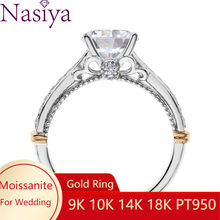 NASIYA 14K 585 White and Rose Gold Two Tones 1ct 6.5mm EF Color Moissanite Engagement Ring for Women