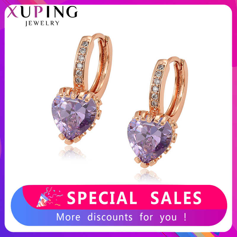 Xuping Jewelry for Girls Heart Shaped New Arrival Earrings Hoops Simple Thanksgiving Christmas Gifts S95,4-97524