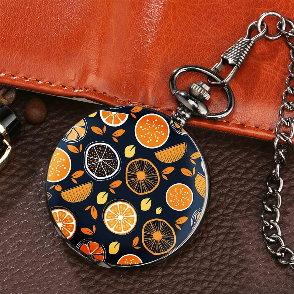 Creative Orange Display Pendant Pocket Watch Antique Black Fob Pocket Clock New Arrival 2020