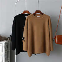 2018 New Fashion Autumn New Korean Version Of The Solid Color Round Neck Long sleeved Knit Bow Sweatshirts Women B066
