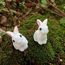 Mini Rabbit Garden Ornament Cute Miniature Figurine Plant Pot Fairy Synthetic Resin Hand-painted Animal Mode