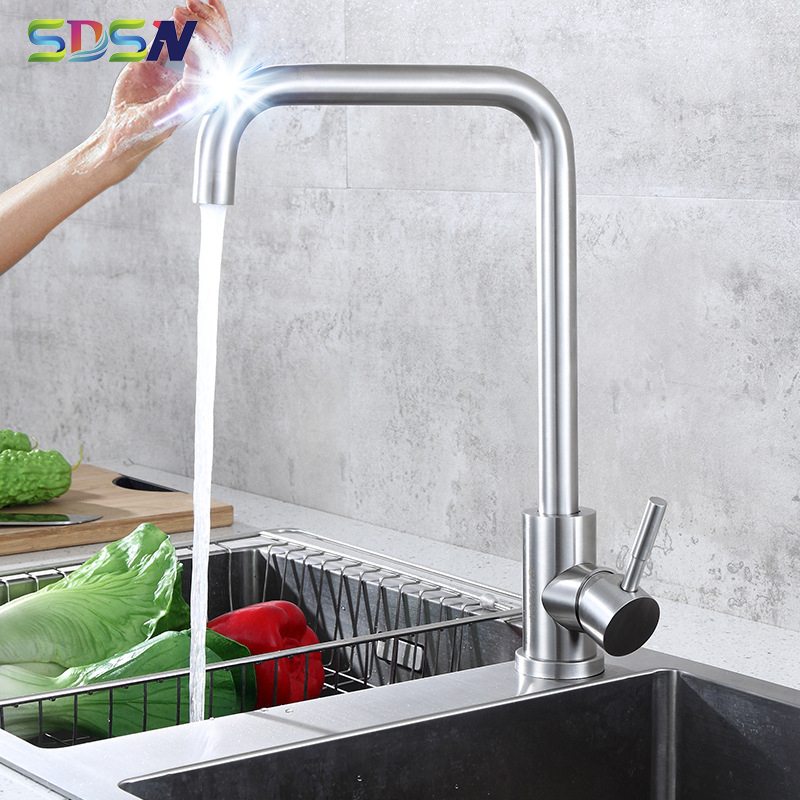 Sensor Kitchen Faucets SDSN Leadfree 304 Stainless Steel Kitchen Mixer Tap Brushed Nickel Touch Kitchen Faucet Black Sensor Taps