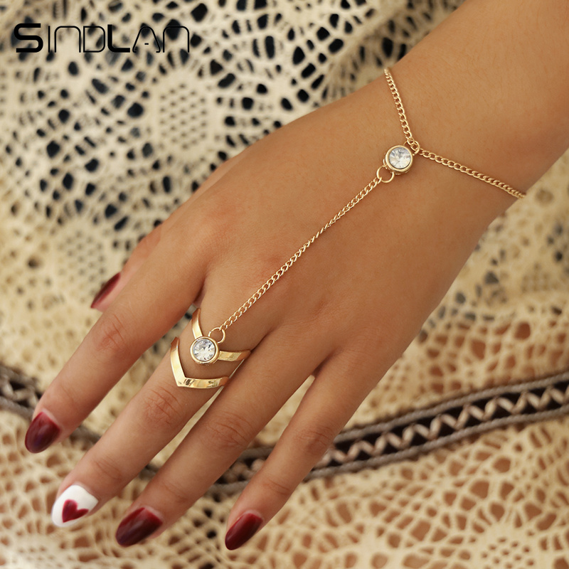 Sindlan Gold Big Crystal <font><b>Ring</b></font> <font><b>Bracelet</b></font> for Women Wrist <font><b>Chain</b></font> Jewelry Fashion <font><b>Hand</b></font> Back <font><b>Chain</b></font> Bangles Female Arm Link Ornaments image