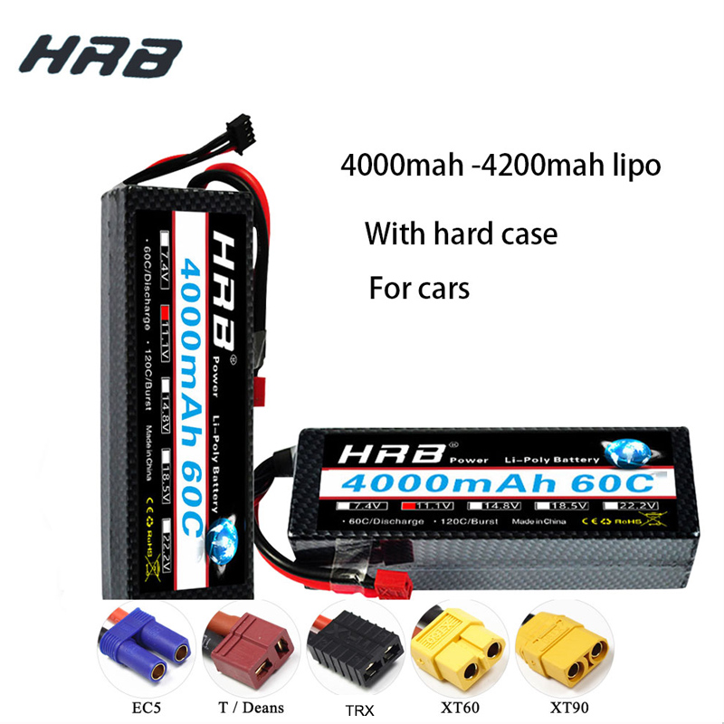 HRB RC <font><b>Lipo</b></font> Battery 2S 3S <font><b>6S</b></font> <font><b>4000mah</b></font> 4200mah battery with hardcase Deans XT60 T EC5 For Traxxas RC Cars 1:10 Quadcopter Airplane image