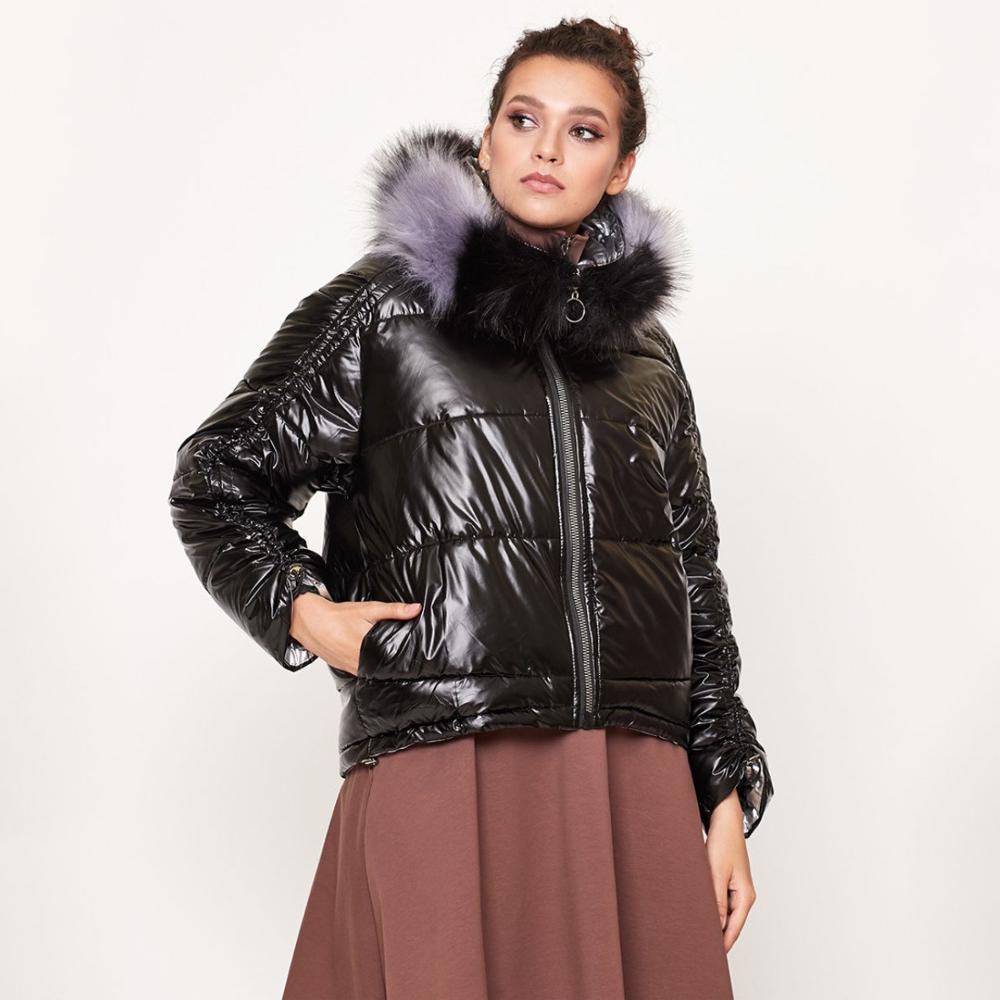 2019 Winter Down Parka Coat Women Large Fox Fur Collar Hooded White Duck Waterproof Down Jacket Thick Warm Parka Short Coat
