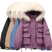 2021 new style Korean fashion multi-pocket tooling down jacket women short loose white duck down winter jacket tide Fashion