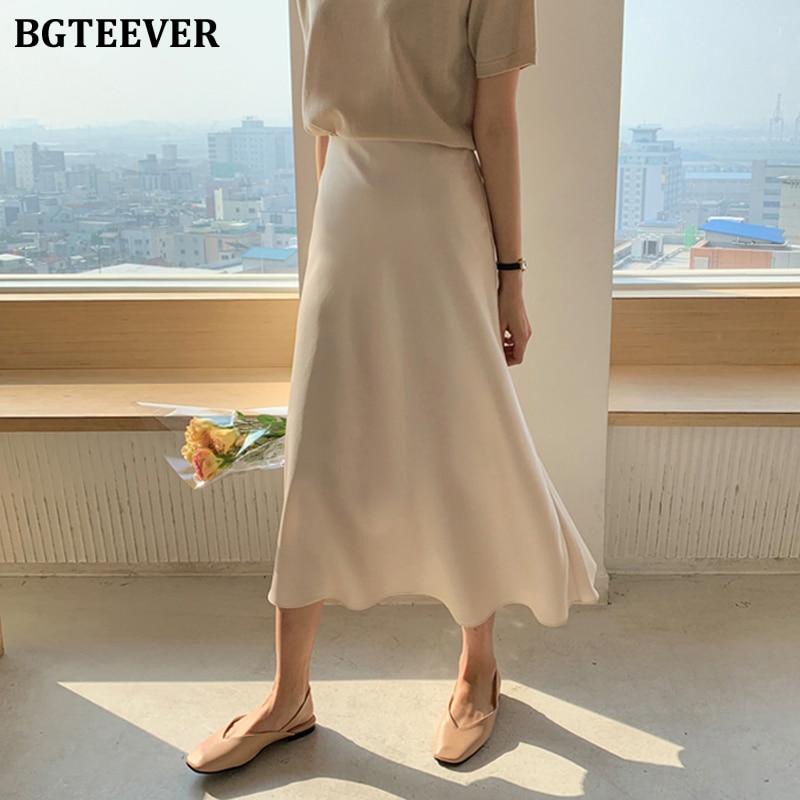 BGTEEVERl Elegant Work Wear Soft Skirts Women Vintage High Waist Zipper Satin Female Skirt Mid-length 2020 Spring Summer