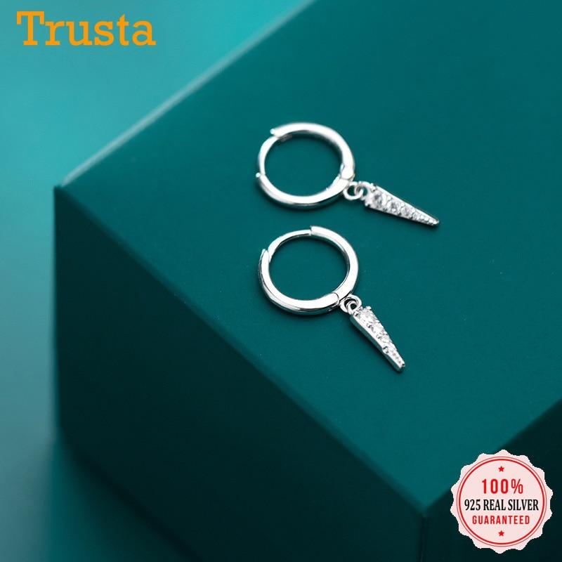 Trusta Minimalist 925 Sterling Silve Geometric Triangle Zircon Earrings for Fashion Women Party Fine Jewelry Accessories DA473