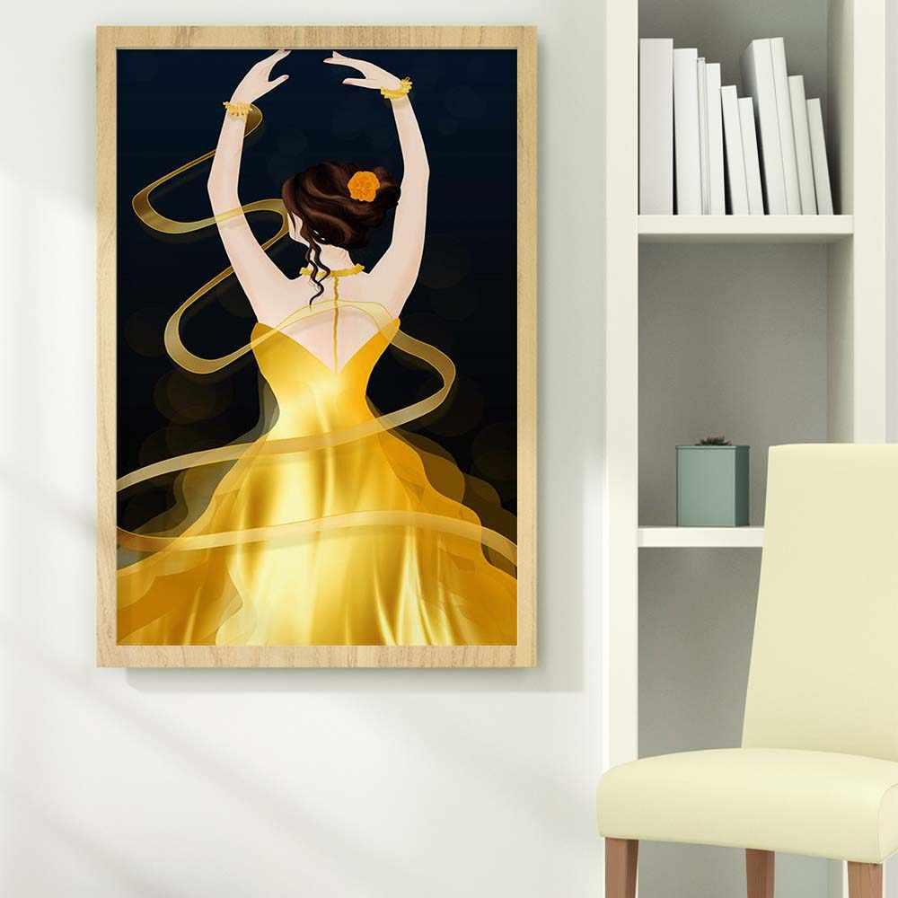 Рисунок маслом модная королева и юбкой золотистого цвета постер с танцовщицей со стильным абстрактным изображением, холст картины для гостиной коридор украшения дома росписи