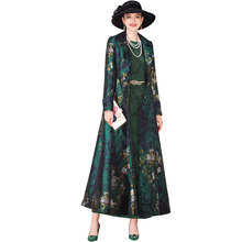 Autumn Winter Jacquard Trench Coat for Women Pockets Floral