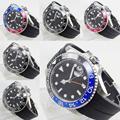 Роскошные автоматические мужские часы сапфировое стекло функция даты GMT вращающийся ободок резиновый ремешок 40 мм серебряный корпус