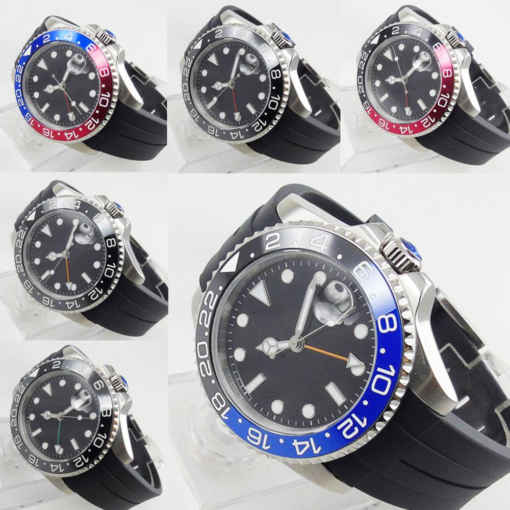 Luxury Automatic Men Wristwatch Sapphire Glass Date GMT Function Rotating Bezel Rubber Strap 40mm Silver Case