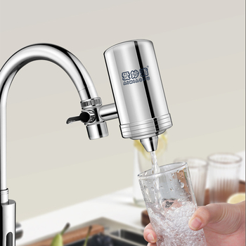 304 Stainless Steel Tap Water Filter Easy Install Mineral Stone Kitchen Tap Water Purifier Washable Filter With Replacement ship from germany 4l pure water distiller purifier dental and medical pure water maker stainless steel body