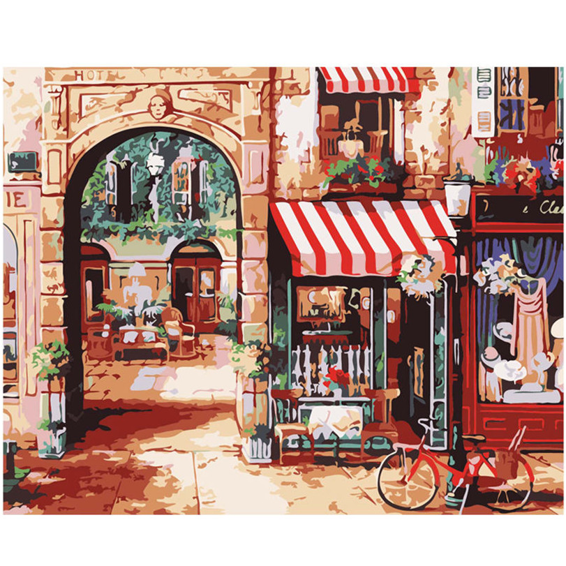 WEEN Small Town Cafe DIY Painting By Numbers Acrylic Paint Canvas Painting For Wall Decoration Picture Paint By Numbers in Painting Calligraphy from Home Garden
