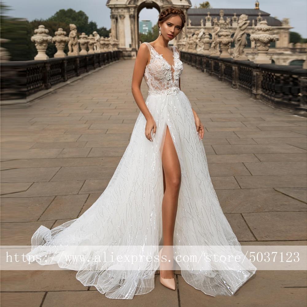 Sparkling A Line Wedding Dresses 2020 Deep V Neck Vestido De Noiva Sleeveless Lace Appliques Bridal Gowns Robe De Mariee