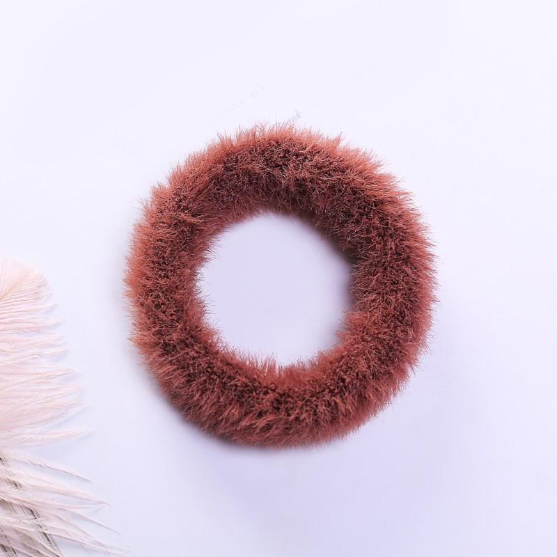 Мягкая Плюшевая повязка для волос резинки для волос натуральный мех кроличья шерсть мягкие эластичные резинки для волос для девочек однотонный цветной хвост резинки для волос для женщин - Цвет: 8