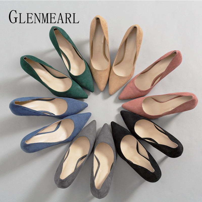 Women High Heels Female Shoes Women Pumps Solid Colorful Slip On Pointed Toe Brand Dress Shoes Wedding Shoes 2020 New DE